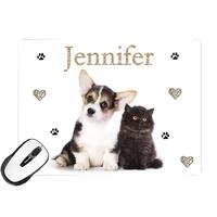 Tapis de souris Chat et chien personnalisé avec prénom