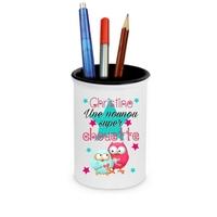 Pot à crayons Nounou super chouette personnalisé avec prénom