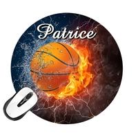 Tapis de souris rond Basketball personnalisé avec prénom