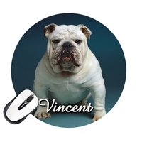 Tapis de souris rond Chien Bulldog personnalisé avec prénom