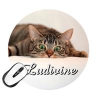 Tapis de souris rond Chat humour personnalisé avec prénom