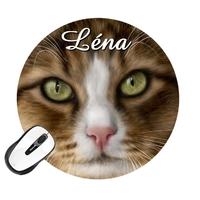 Tapis de souris rond Chat personnalisé avec prénom