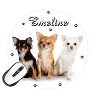 Tapis de souris rond Chien Chihuahua personnalisé avec prénom