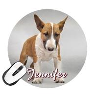 Tapis de souris rond Chien Bull terrier personnalisé avec prénom