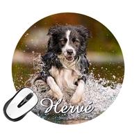 Tapis de souris rond Chien Dog personnalisé avec prénom