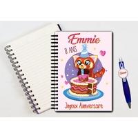 Cahier à spirales et stylo Panda roux anniversaire personnalisé avec prénom et âge