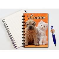 Cahier à spirales Chien et chat personnalisé avec le stylo assorti