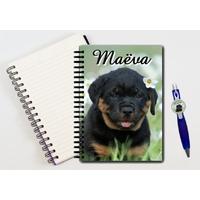 Cahier à spirales Chien chiot Rottweiler personnalisé avec le stylo assorti