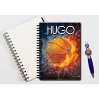 Cahier à spirales Basketball personnalisé avec le stylo assorti