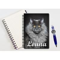 Cahier à spirales Chat chaton personnalisé avec le stylo assorti