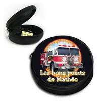 Poche à bons points Camion de pompier personnalisée avec prénom