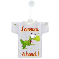 Mini tee shirt ventouse Bébé Dinosaure à bord personnalisé avec prénom