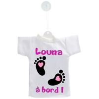 Mini tee shirt ventouse Bébé fille à bord personnalisé avec prénom