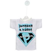 Mini tee shirt ventouse Super papa à bord personnalisé avec prénom