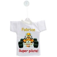 Mini tee shirt ventouse Super pilote personnalisé avec prénom