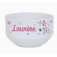 Bol à petit déjeuner Licorne personnalisé avec prénom au choix