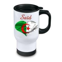 Tasse isotherme Drapeau Algérie personnalisée avec prénom