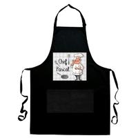 Tablier de cuisine noir Chef cuisinier personnalisé avec prénom