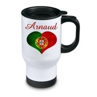 Tasse isotherme Drapeau Portugal personnalisée avec prénom