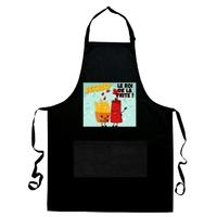 Tablier de cuisine noir Friterie Le roi de la frite personnalisé avec prénom