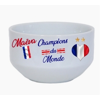 Bol à petit déjeuner France foot Champions du monde personnalisé avec prénom