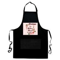 Tablier de cuisine noir Meilleure maman du monde personnalisé avec prénom