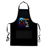 Tablier de cuisine noir Mon Papa Mon héros personnalisé avec prénom