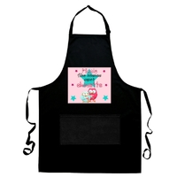 Tablier de cuisine noir Nounou super chouette personnalisé avec prénom