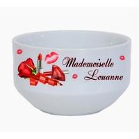 Bol à petit déjeuner Maquillage Glamour Mademoiselle personnalisé avec prénom