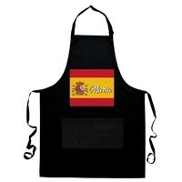 Tablier de cuisine noir Espagne personnalisé avec prénom