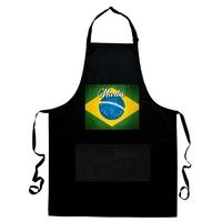 Tablier de cuisine noir Brésil personnalisé avec prénom
