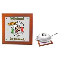 Dessous de plat Pizza Pizzaiolo personnalisé avec prénom