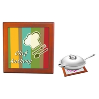 Dessous de plat Toque chef cuisinier  personnalisé avec prénom