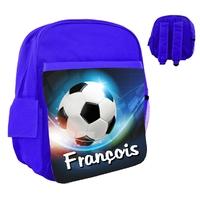 Sac à dos rose/bleu/rouge enfant Football personnalisé avec prénom