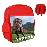 Sac à dos rose/bleu/rouge enfant Dinosaure personnalisé avec prénom