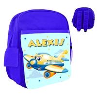 Sac à dos rose/bleu/rouge enfant Avion rigolo personnalisé avec prénom
