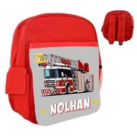 Sac à dos rose/bleu/rouge enfant Camion de pompier personnalisé avec prénom