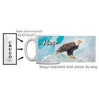 Mug Aigle personnalisé avec prénom avec Anse imprimée !