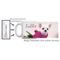 Mug Chihuahua personnalisé avec prénom avec Anse imprimée !