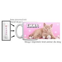 Mug Chat chaton personnalisé avec prénom avec Anse imprimée !