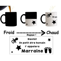 Mug tasse magique SURPRISE Tu vas être Marraine !