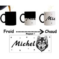 Mug tasse magique Loup personnalisé avec prénom