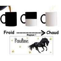 Mug tasse magique Cheval personnalisé avec prénom