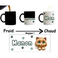 Mug tasse magique Chat Chaton personnalisé avec prénom