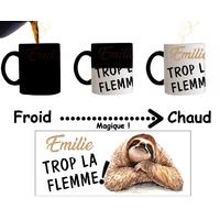 Mug tasse magique Humour Trop la flemme personnalisé avec prénom