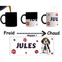 Mug tasse magique Chien Beagle personnalisé avec prénom