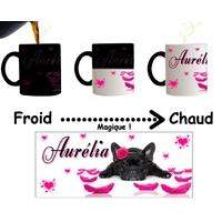 Mug tasse magique Bouledogue français personnalisé avec prénom
