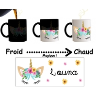 Mug tasse magique Licorne personnalisé avec prénom