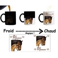 Mug tasse magique Cheval et poulain  personnalisé avec prénom