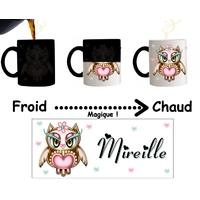 Mug tasse magique Chouette personnalisé avec prénom